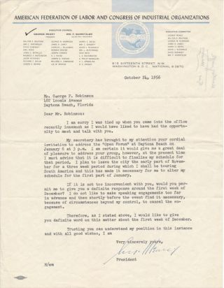 Typed Letter Signed. George MEANY