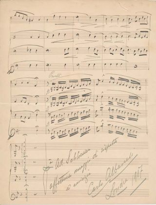 Autograph Musical Quotation Signed. Carlo ALBANESI