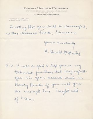 Autograph Letter Signed. R. Gerald McMURTRY