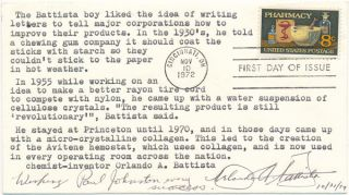 Signed First Day Cover. Orlando A. BATTISTA, 1917-?
