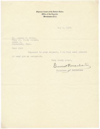 Typed Note Signed. Ernest KNAEBEL