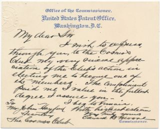 Autograph Note Signed. Edmund B. MOORE