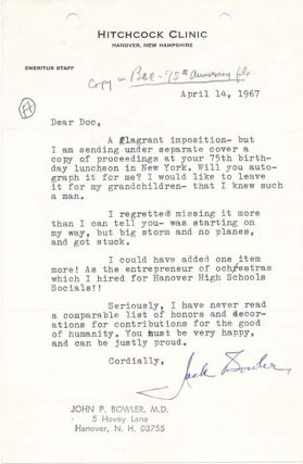 Typed Letter Signed. John P. BOWLER