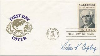 Signed First Day Cover. Helen K. COPLEY