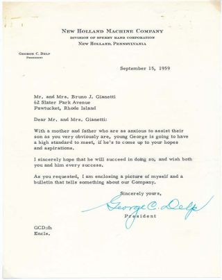 Typed Letter Signed. George C. DELP