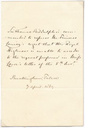 Autograph Note Signed (third person). Sir Thomas BIDDULPH
