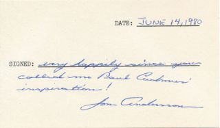 Signature and Inscription. Jon ANDERSSON, b. 1937-?