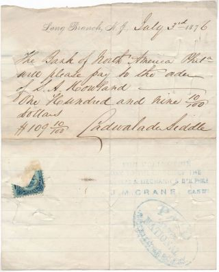 Autograph Document Signed. Cadwalader BIDDLE