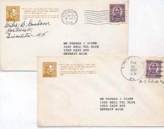 Group of Six Postal Covers.
