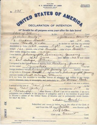 Partly-Printed Document Signed. Leo E. DECLARATION OF INTENTION / ALLEN