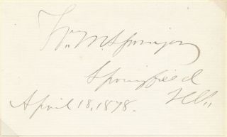 Signature and Inscription. William M. SPRINGER