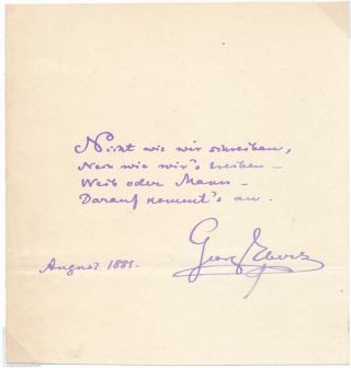 Autograph Quotation Signed. Georg EBERS