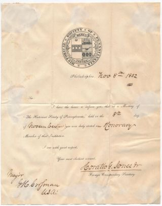 Partly-Printed Document Signed. Horatio Gates JONES, Jr