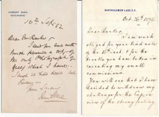 Autograph Note Signed / Autograph Letter Signed. John ROSE, Charles Day ROSE.