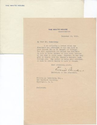 Typed Letter Signed / Unsigned Photograph. Everett SANDERS