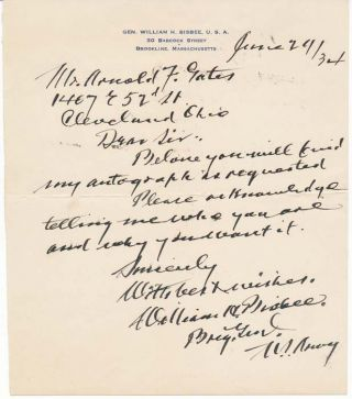 Autograph Note Signed. William H. BISBEE