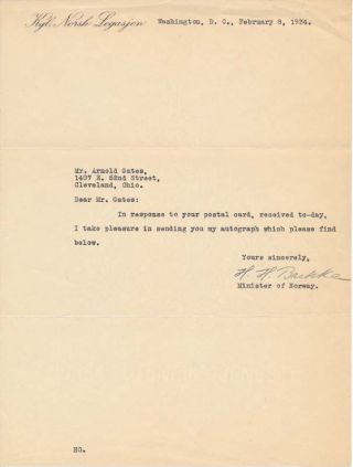 Typed Note Signed. Halvard H. BACHKE, ?-1948