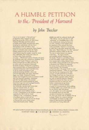 A Humble Petition to the President of Harvard. John BEECHER