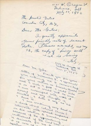 Autograph Letters Signed. James G. RANDALL, Ruth Painter RANDALL