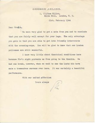 Typed Letter Signed. George ARLISS