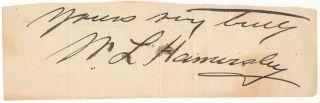 Signature and Salutation. William Livingston HAMERSLEY, ?-1894