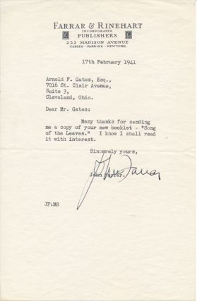 Typed Note Signed. John FARRAR