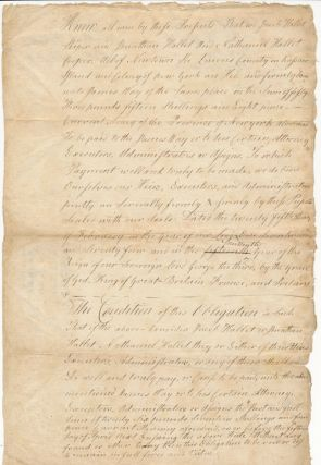 Autograph Document Signed. COLONIAL BOND, Jacob HALLET, Jonathan, HALLET, Nathaniel HALLET