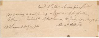 Autograph Document Signed. Fisher AMES.
