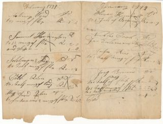 Autograph Document (unsigned). COLONIAL -- BAR TAB