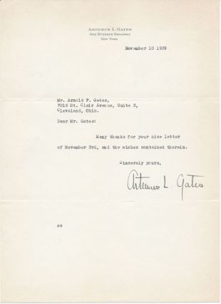 Typed Note Signed. Artemus L. GATES