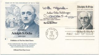 Signed Business Card / First Day Cover. Arthur Ochs SULZBERGER.