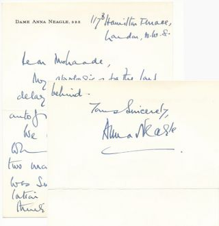 Autograph Note Signed. Anna NEAGLE