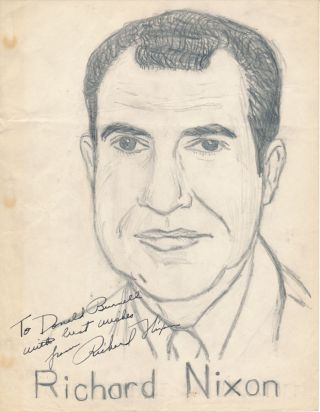 Original Drawing Signed. Richard M. NIXON