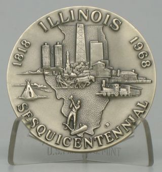 Illinois Sesquicentennial 1818-1968. MEDALLION -- ILLINOIS