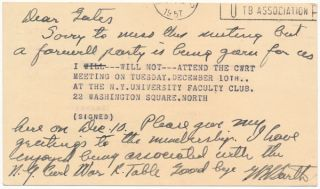 "Autograph Note Signed. George B. ""Bitt"" BARTH"