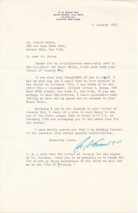 Typed Letter Signed / Autograph Note Signed. Ulysses S. GRANT, III, John C. PEMBERTON, III