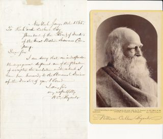 Autograph Letter Signed / Unsigned Cabinet Card. William Cullen BRYANT