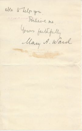 Letter Signed. Mary A. WARD, Mrs. Humphry