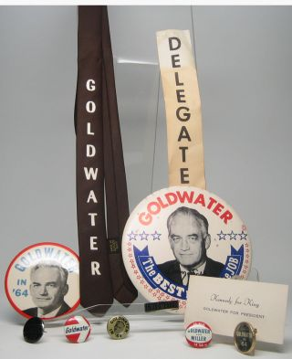 Group of political buttons. Barry 1964 PRESIDENTIAL ELECTION -- GOLDWATER