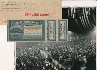 Delegate's Badge / Ticket / Lapel Pin / New Agency Photographs. 1928 Republican National Convention
