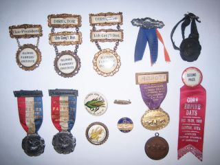 Collection of 14 Agricultural Medallions and Ribbons. ILLINOIS FARMERS' INSTITUTE