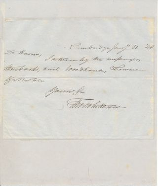 Autograph Note Signed. Thomas WHITTEMORE