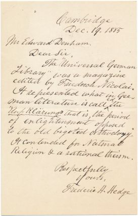 Autograph Letter Signed. Frederic H. HEDGE